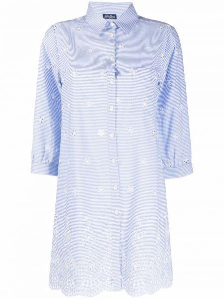 Синяя рубашка с воротником с вышивкой Mc2 Saint Barth