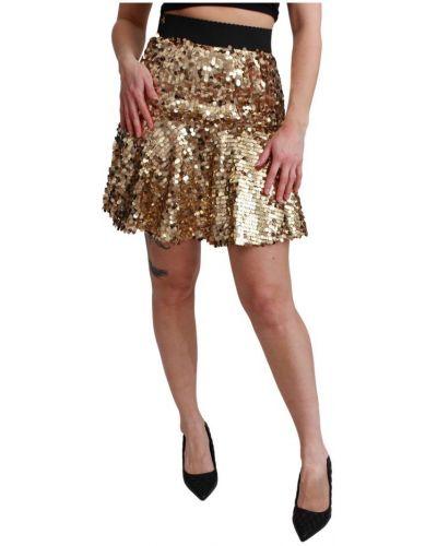 Czarna spódnica mini z wysokim stanem z cekinami Dolce And Gabbana