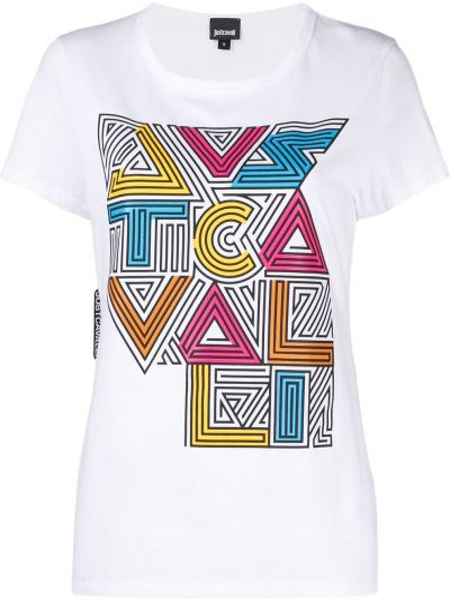 С рукавами белая футболка с вырезом Just Cavalli