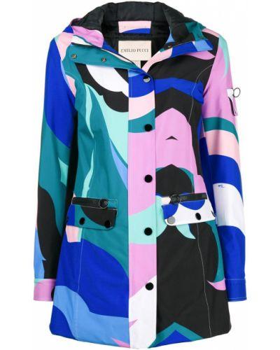 Синее длинное пальто Emilio Pucci
