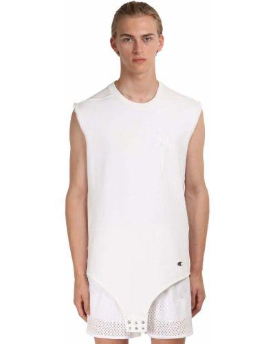 Белый комбинезон без рукавов с вышивкой Rick Owens