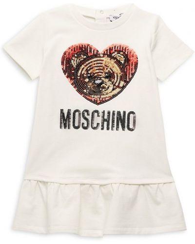 Хлопковое платье с вышивкой с короткими рукавами Moschino