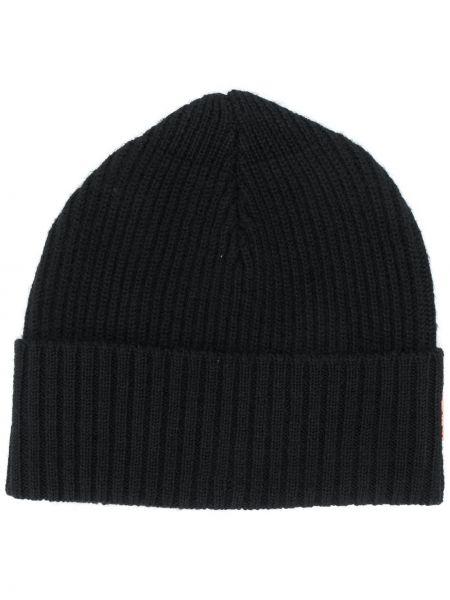 Prążkowana czarna czapka wełniana Acne Studios