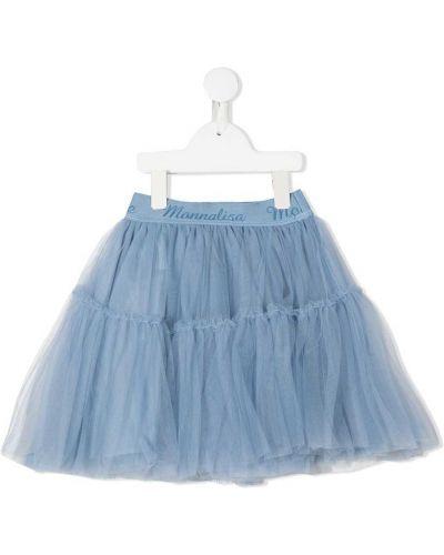Расклешенная синяя юбка с поясом с оборками Monnalisa