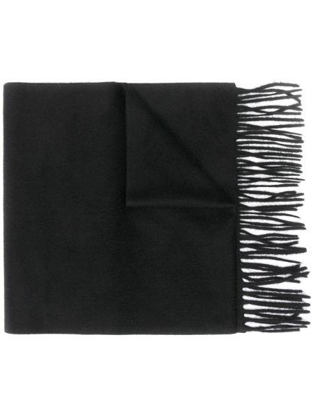 Z kaszmiru czarny szalik z haftem Alexander Mcqueen