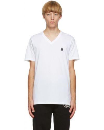 Biały koszula z krótkim rękawem z kołnierzem z haftem z dekoltem w szpic Burberry
