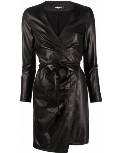 Кожаное черное платье макси с запахом Dsquared2