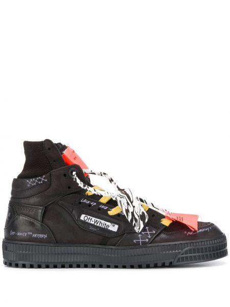 Хлопковые черные высокие кроссовки на шнуровке Off-white