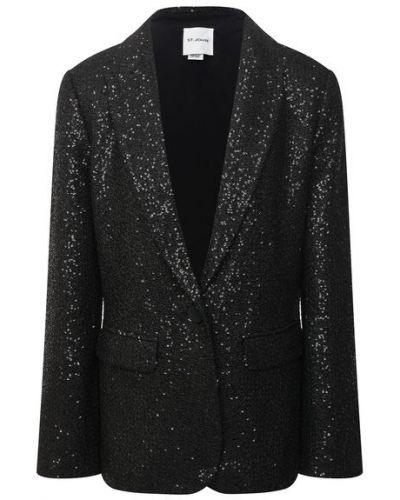 Пиджак с пайетками - черный St. John