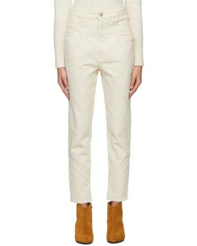 Prosto bawełna biały jeansy na wysokości z kieszeniami Isabel Marant