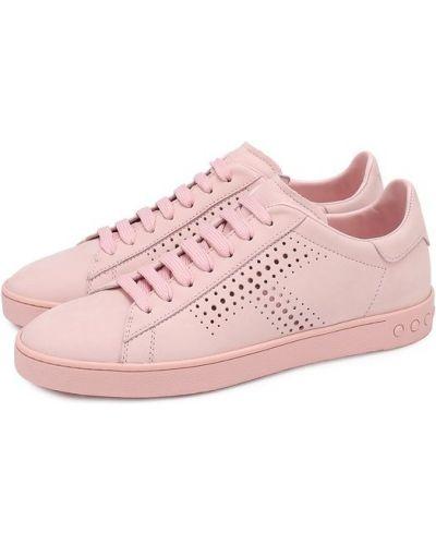 Розовые кожаные кеды с перфорацией Tods