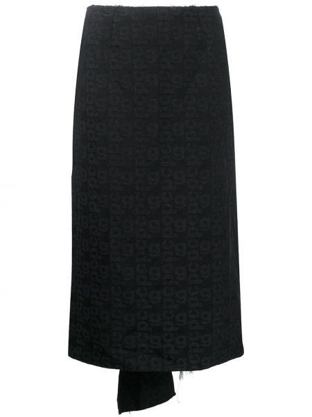 Расклешенная черная юбка миди с вышивкой Comme Des Garçons