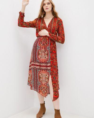 Прямое красное платье Desigual