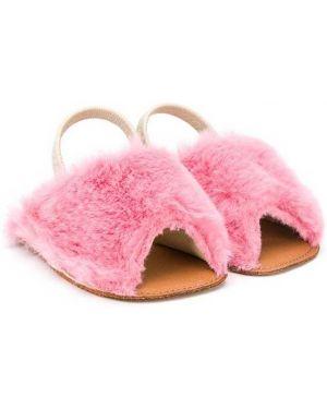 Кожаные открытые розовые кожаные босоножки с открытым носком Pépé Kids