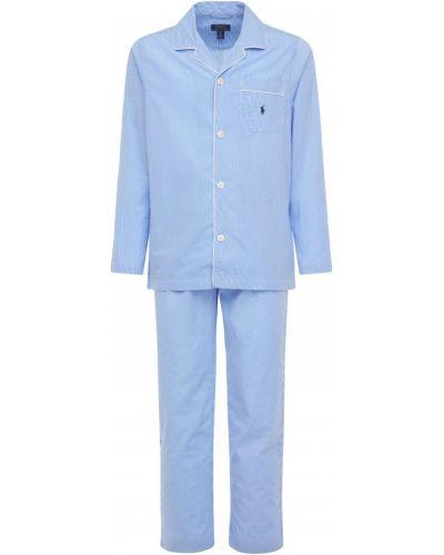 Синяя хлопковая пижама с карманами с вышивкой Polo Ralph Lauren