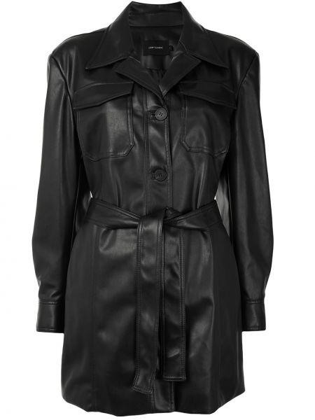 Черная кожаная длинная куртка с длинными рукавами Low Classic