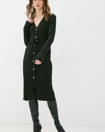 Трикотажное вязаное черное платье Rinascimento