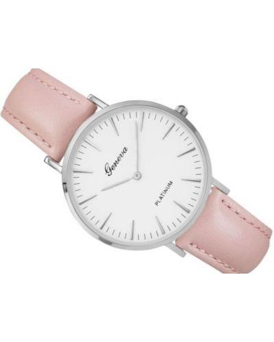 Klasyczny różowy zegarek na skórzanym pasku srebrny Geneva