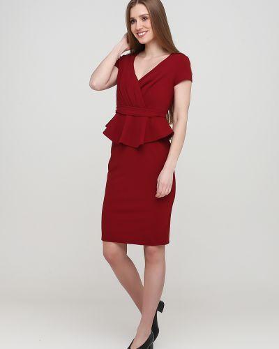 Красное платье без рукавов с оборками City Goddess