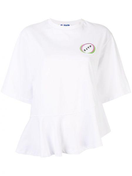 Хлопковая белая футболка с оборками с круглым вырезом Sjyp