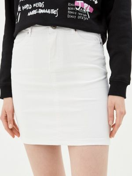 Белая джинсовая юбка B.style