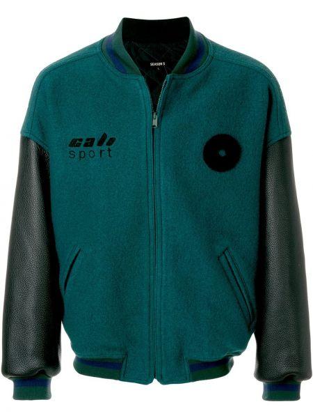 Zielona długa kurtka skórzana z haftem Yeezy