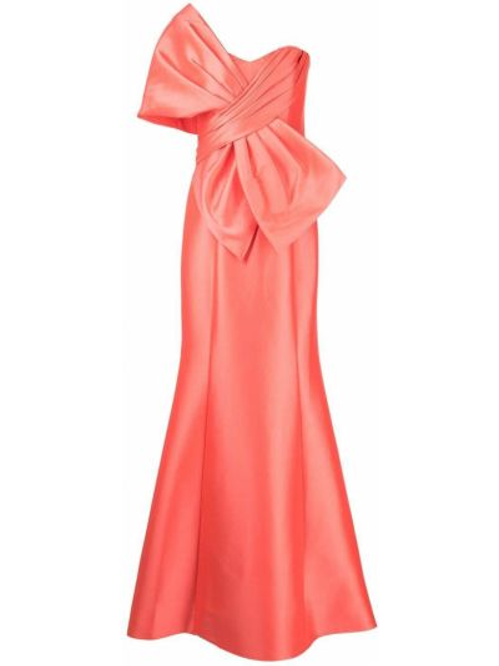 Оранжевое платье макси с потайной застежкой с вырезом Badgley Mischka