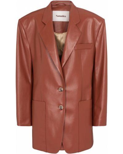 Коричневый кожаный пиджак Nanushka