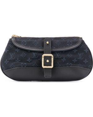 Темно-синяя парусиновая кожаная сумка с пряжкой Louis Vuitton Pre-owned