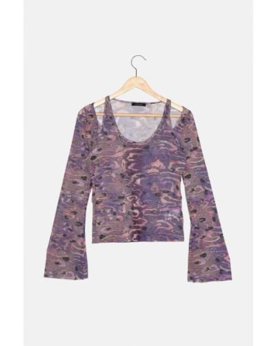 Bluzka tiulowa - fioletowa Trendyol