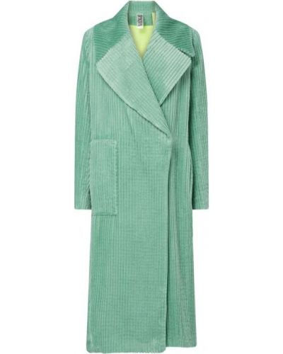 Zielony płaszcz sztruksowy zapinane na guziki Drykorn