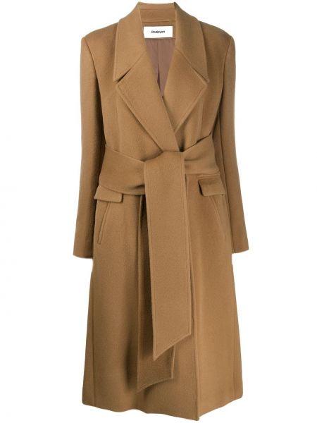 Коричневое шерстяное длинное пальто с капюшоном Chalayan