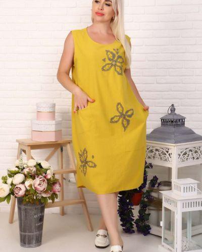 Льняное желтое платье инсантрик