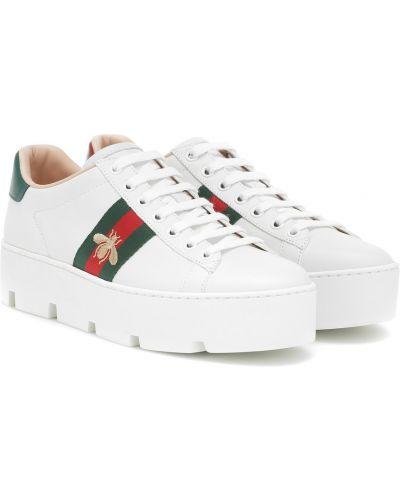 Кроссовки на платформе кожаные белый Gucci