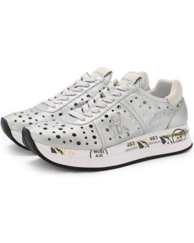 Кроссовки с перфорацией серебряного цвета Premiata