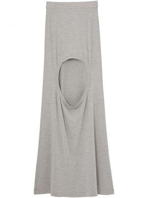 Шелковая серая юбка макси с поясом Burberry