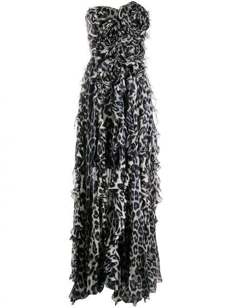 Шелковое серое платье с вырезом на молнии Blumarine