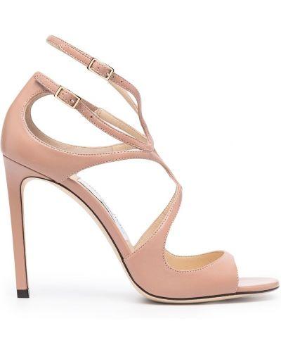 Różowy skórzany sandały na pięcie Jimmy Choo