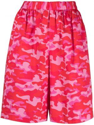 Хлопковые красные шорты с поясом Comme Des Garçons Girl