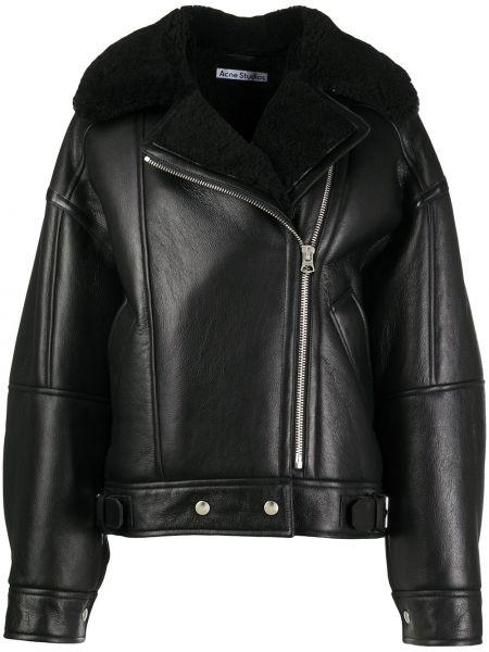 Хлопковая черная длинная куртка с лацканами с карманами Acne Studios