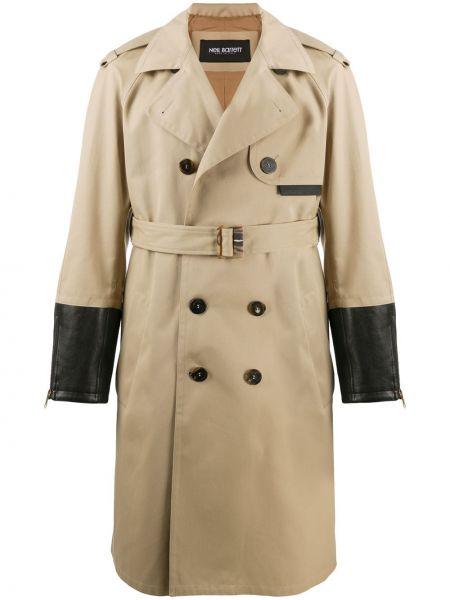 Кожаное черное пальто классическое с воротником Neil Barrett