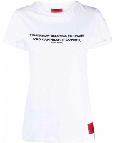 Белая футболка с надписью с вырезом Boss Hugo Boss