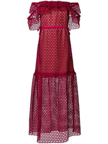 Ажурное красное платье макси с открытыми плечами с завязками Self-portrait