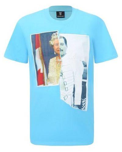 Хлопковая синяя футболка Diego Venturino