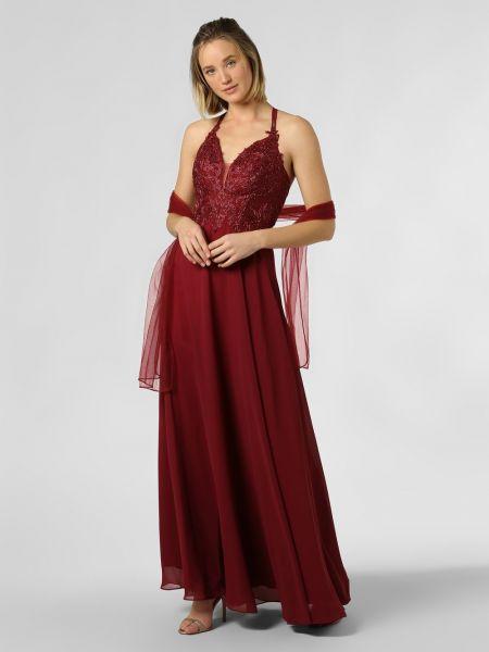 Czerwona sukienka wieczorowa koronkowa Luxuar Fashion