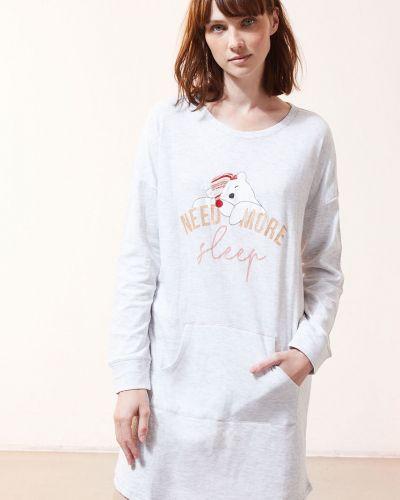Piżama z koszulą bawełniana z długimi rękawami z printem Etam
