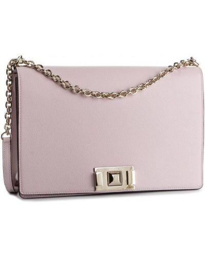 Розовая сумка через плечо из натуральной кожи Furla