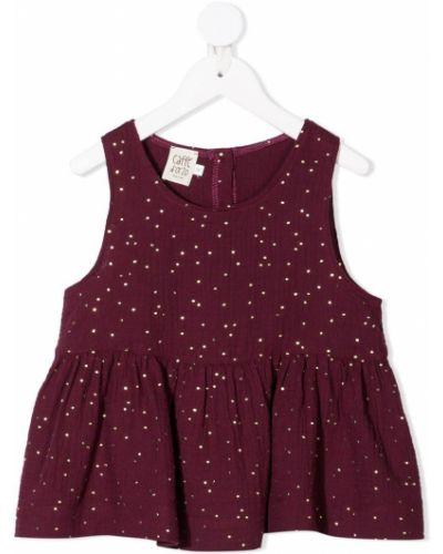 Красная блузка в горошек без рукавов Caffe' D'orzo