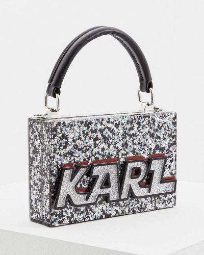 Клатч 2018 серебряного цвета Karl Lagerfeld