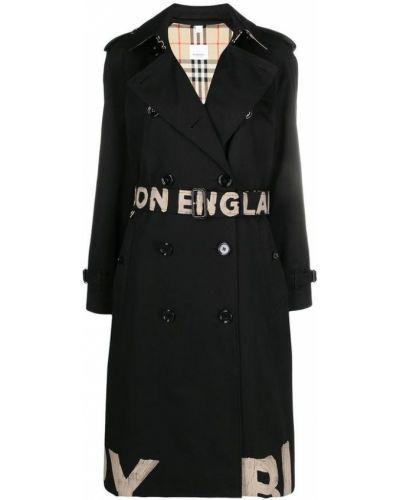 Czarny płaszcz dwurzędowy bawełniany zapinane na guziki Burberry